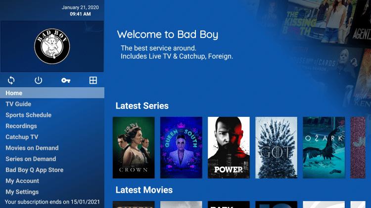 bad boy media iptv app interface