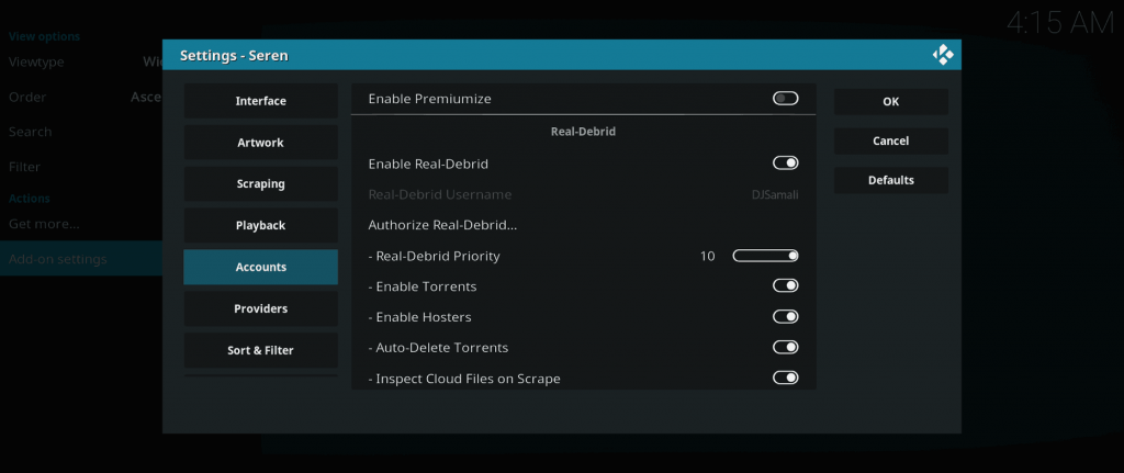 seren premium hoster and torrent streaming kodi addon